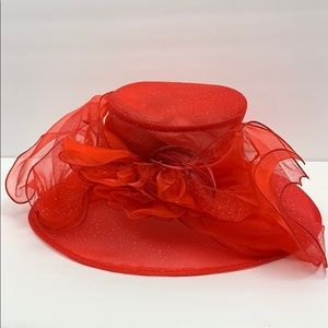 Lady in Red feather derby with bow Hat